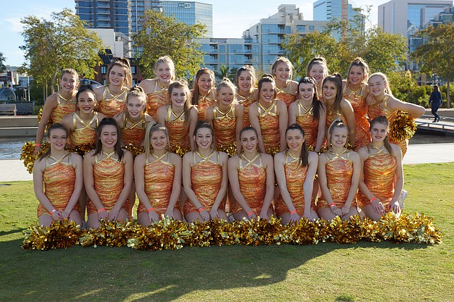 The Mill Valley High School cheerleading squad recently performed at the Holiday Bowl parade and half-time show in San Diego.