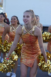 Mill Valley High School sophomore Kate Backes was one of the cheerleaders who participated in the Holiday Bowl half-time show in San Diego late last month. Two dozen of the school's 32 cheerleaders attended the event.