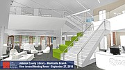 A grand staircase will be prominently displayed in the center of the library. The carpeted side of the stairs will double as a community gathering space for informal events.