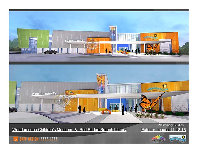 This rendering reveals the new building for both Wonderscope Children's Museum and the new Red Bridge library branch.