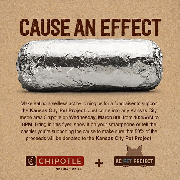 Bring in this flyer to make sure your lunch or dinner proceeds at Chipotle benefit the KC Pet Project.