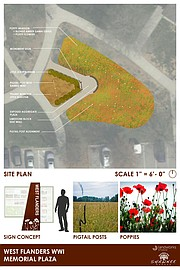 An architect's rendering shows the layout of the sign and the poppy field.
