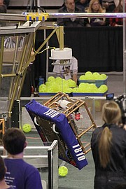 Pictured is the team's robot, Lightning McSteam.