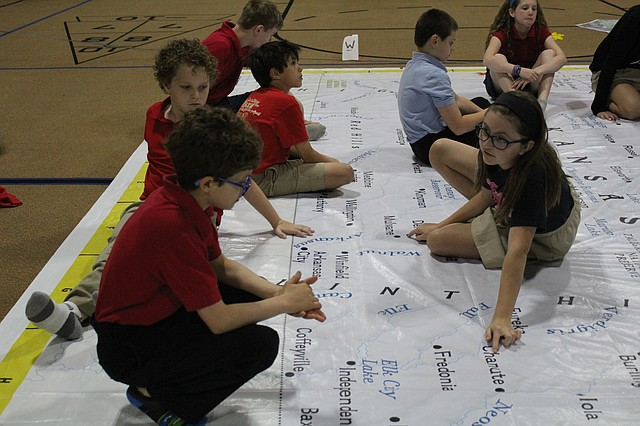 Hope Lutheran School students participated in interactive games while using the map last week.