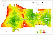 Map illustrating current drive times for the Shawnee Fire Department from the three current stations.