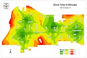 Map illustrating drive times for the Shawnee Fire Department if a new station were constructed at 53rd Street and Woodsonia.