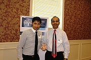 The new Comfort Inn & Suites was honored with a SEDC Business Appreciation Award. (L-R) Chirag Patel and Dilip Patel, developer at Jay Shree Ram Development pose with their award. This company is also developing the upcoming Fairfield Inn & Suites and a new shopping center on the corner of Midland Drive and Renner Road.