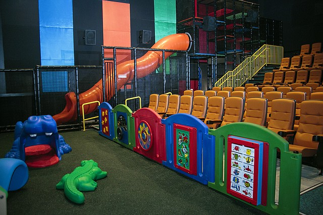 The new ScreenPLAY experience at B&B Shawnee 18 movie theater allows children ages 2 to 11 the opportunity to play before a family friendly feature film. The auditorium features a giant slide and interactive toddler area.