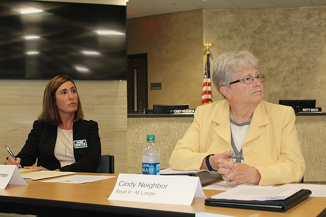 Shawnee Mission School Board candidates Mandi Serrone Hunter, left, and Cindy Neighbor (incumbent), right, were two of five candidates who participated in a forum for the at-large seat last week.