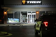 Shawnee Police standby outside the Trek Bicycle store on Shawnee Mission Parkway near Melrose Lane following a burglary early Wednesday morning.
