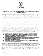This was an open letter Tyson Foods sent to media outlets as an open letter to Leavenworth County on Sept. 19, 2017.