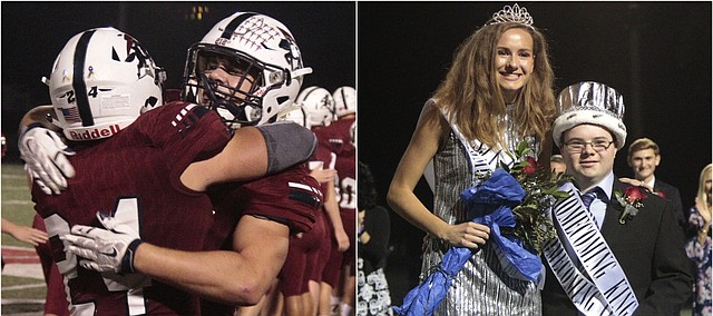 Left: St. James senior running back Jack Petz receives a hug from linebacker Cole Barrett (24) after scoring five touchdowns in the Thunder's 35-28 win over Blue Valley on Friday. Right: St. James seniors Mary Goetz, left, and Jack Farnsworth, right, pose for photos after respectively being crowned as the homecoming queen and king. Farnsworth, who has Down syndrome, is the twin brother of Thunder defensive tackle Nick Farnsworth.