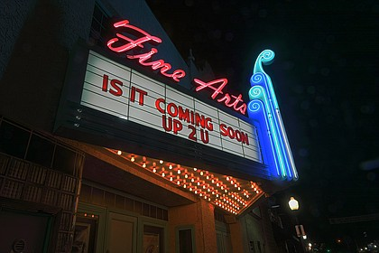 The marquee of the former Aztec Theatre was lit on the evening of Sept. 25 during the Shawnee City Council meeting.