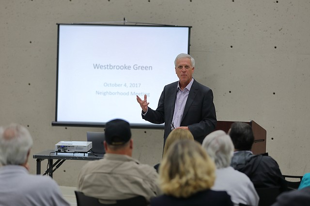 Attorney John Petersen answers questions at the Westbrooke Green neighborhood meeting.
