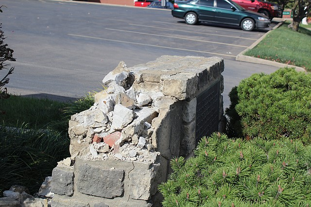Vandals recently destroyed a historic marker and stole a 100-year-old anvil attached to it.