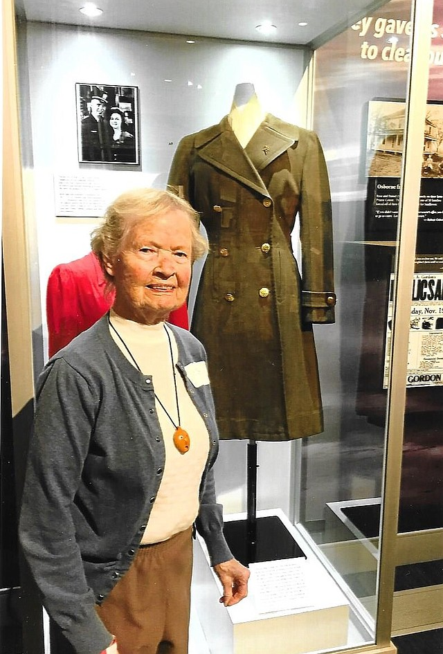 Mary Cashman, a Nebraska native and retired Shawnee Mission educator, donated her wool winter Air Corps coat to the Johnson County Museum.