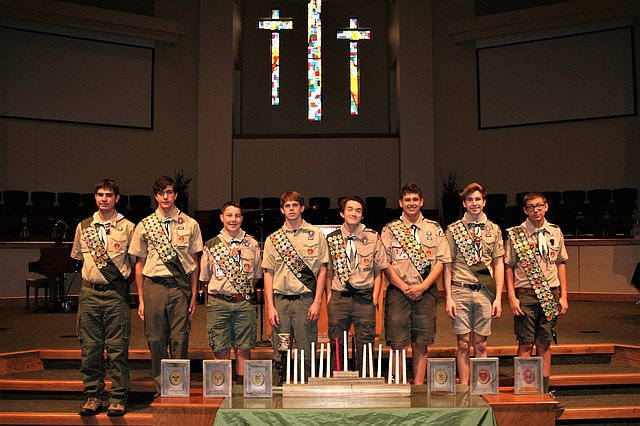 Eight area Boy Scouts were granted Eagle Scout status last week at Community Covenant Church. From left to right, the new Eagle Scouts are Jack Ball, Justin Deas, Albert Hoelting III, Brandon Long, Johnathan McNett, Matthew Murphy, Brian Pendleton, and Keagan Taylor.
