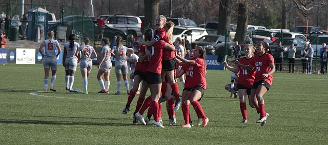 Mill Valley alumna Kayla Hamner jumps into the arms up Central Missouri teammate Abby Rhodes after Rhodes' penalty kick won the NCAA Division II women's soccer national championship for the Jennies on Saturday at Swope Soccer Village. The Jennies edged Carson-Newman (Tenn.), 1-1 (5-3 in PKs) for their first national championship in school history. The UCM team included 23 players from the Kansas City area, including Hamner, fellow Mill Valley alumna Haley Freeman, Shawnee Mission Northwest graduate Mikala Modiri and SM West product Ashton Dvorak.