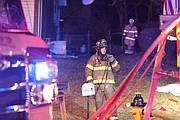 Firefighters battled the fire while temperatures were in the low 20's.