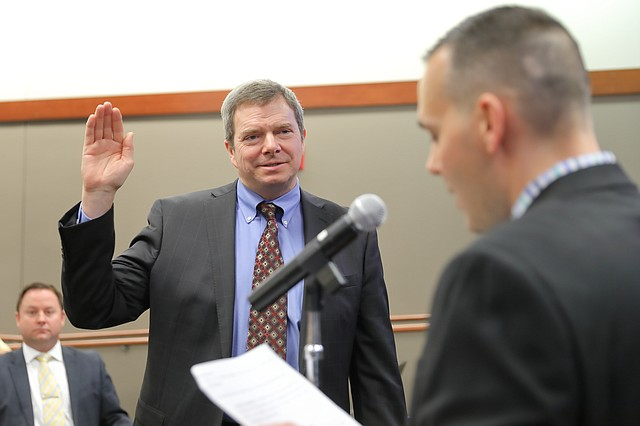 Councilman Matt Zimmerman gets sworn into office at the Shawnee City Council meeting on Jan. 8.