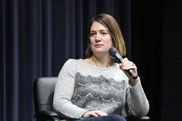 """Gone Girl"" author Gillian Flynn answers questions during a special roundtable discussion at St. Thomas Aquinas High School on Friday morning."