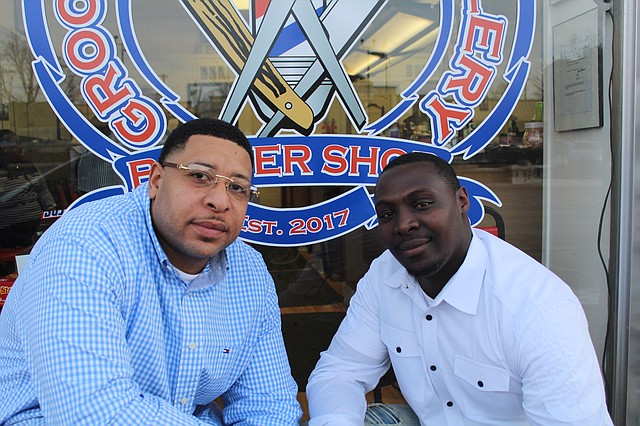 Co-owners Ron Jones and Anthony Chege recently opened J.C. Barbershop in downtown Shawnee.
