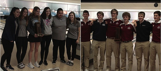 The Mill Valley girls and St. James boys bowling teams won Eastern Kansas League titles on Tuesday at Olathe Lanes East. From left to right, the Mill Valley league championship squad consisted of Abby Berner, Emily Jackson, Bella Hadden, Tori Benson, Bri Davis and Bri Laluk. From left to right, the St. James EKL title team was comprised of Tanner Nelson, Thomas Reece, Burk Schreiner, Grant Huerter, Christian Kaufman and Max Petty.