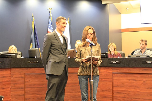 Mayor Michelle Distler awarded Joshua Owen with the Carnegie Medal at the city council meeting on Feb. 12.