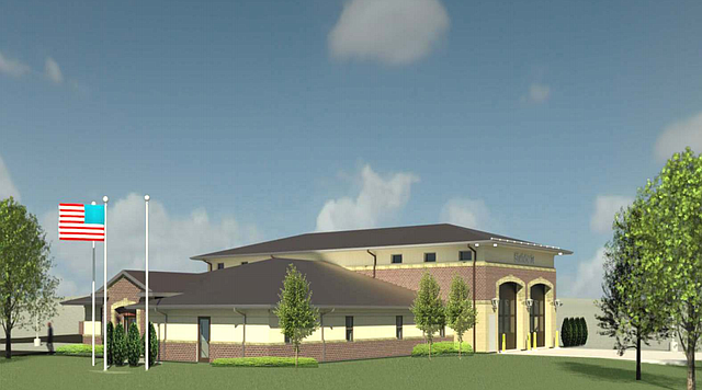 This rendering shows what Fire Station 74 may look like once completed. The new western Shawnee station is proposed for the corner of 53rd Street and Woodsonia Drive.
