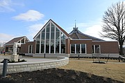 An exterior view of the church's new narthex, which serves as the entryway and gathering space for the church.