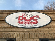 Here's a closer look at the signage outside Ol'Doc's Pop Shop in downtown Tonganoxie.