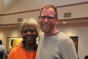 The Revs. Alice Piggee-Wallack, of True Light Ministry, and Jed Hollenbach, of Harvest Ridge Covenant Church, smile for the camera.