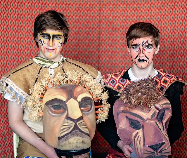 """Zion Lang, left, and his younger brother, Jonah, right, play Mufasa and Scar, respectively, in the Christian Youth Theatre production of """"The Lion King"""" this week."""
