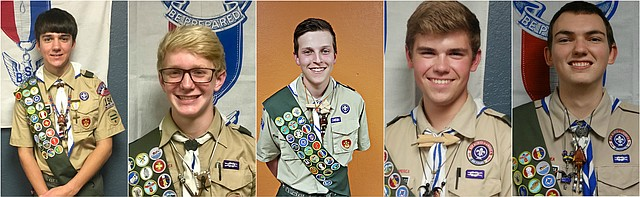 From left to right: Ben Barrett,  Jack McAnany, Joseph Corredor, Logan Doering and Michael Dowse. All five boys recently received their Eagle Scout titles during a Court of Honor ceremony at St. Joseph Catholic Church.