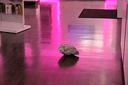 A large rock remains of the floor of the Olathe T-Mobile store after suspects used it to break out the front glass.