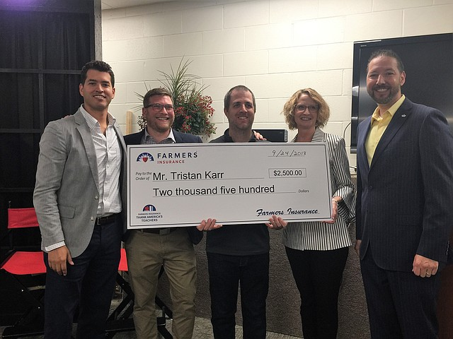 From left to right: Richard Young, Midland principal; Grant Fenton, Laurie Mendon Agency producer; Tristan Karr, Midland teacher, Laurie Mendon, Farmers agent and Tom Quintrell,, Farmers district manager.