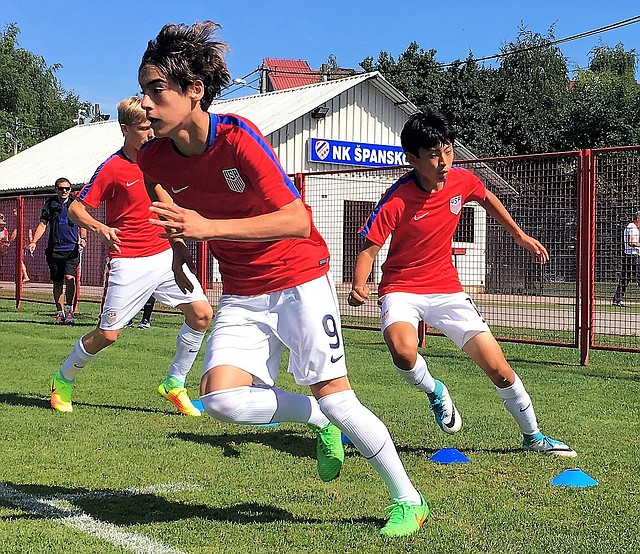 In this 2017 file photo, Tyler Freeman, No. 9, goes through a drill with his United States U-14 national team teammates during a camp last month in Croatia. The western Shawnee teenager was recently signed to Sporting KC as a Homegrown Player.