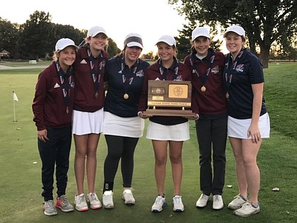 The St. James Academy girls golf team. The golfers, from left to right, are: Maddie Schemmel, Jane Grant, Alex Cozzitorto, Allison Comer, Beth Grant and Kelly Krebs.
