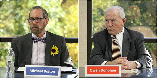 Democrat Michael Bolton, left, and Republican Owen Donohoe, right, are vying for a chance to represent District 39, which covers parts of Bonner Springs and Shawnee.
