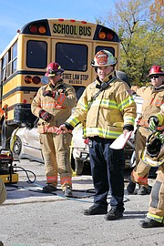 Shawnee Fire Battalion Chief Ryan Pyle addressed everyone who participated in the exercise after its conclusion.