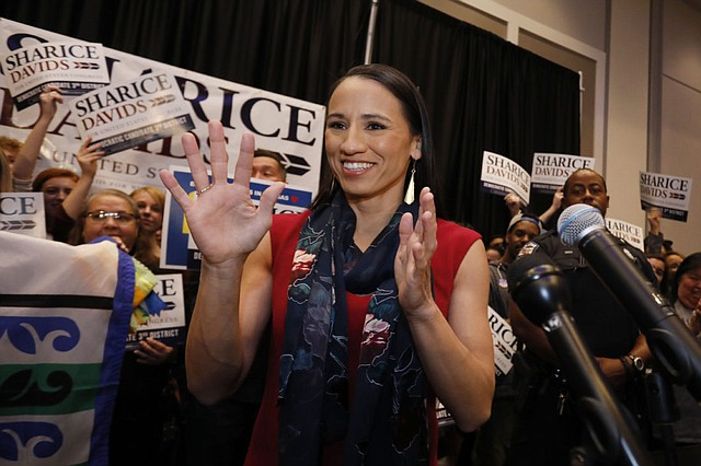 Democratic House candidate Sharice Davids reacts before speaking to supporters at a victory party in Olathe on Tuesday, Nov. 6, 2018. Davids defeated Republican incumbent Kevin Yoder to win Kansas' 3rd Congressional District seat.