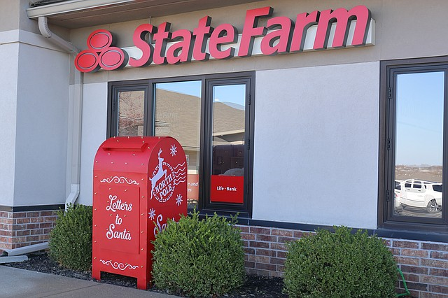 A Santa letter mailbox now sits at 21632 Midland Drive, in front of the Nick Reed State Farm Insurance Agency.