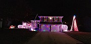 This is the full view of the Sparks residence with Christmas lights.