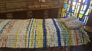 This bed mat and pillow are made entirely of repurposed plastic bags. Patti Szini gave a presentation on them at this month's Kuntry Klub meeting. Another group of volutneers in which Szini belongs to will continue to work on the mats and pillows twice a month at Tonganoxie United Methodist Church. The finished projects are then donated to the homeless.