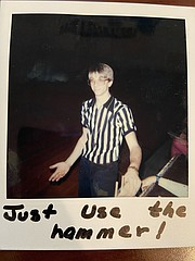 Chris Weller officiates a game during the mid-1980s. Weller retired Friday after 39 years teaching industrial arts in the Tonganoxie school district.