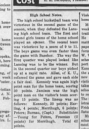 """A story published in January 1921 in The Mirror showed that """"Allen"""" from KU officiated a game between Tonganoxie and Lansing."""