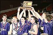 It was celebration time, above, for the Baldwin High School Bulldogs after they were presented their third-place trophy at the Class 4A State Basketball Tournament in Salina's Bicentennial Center Saturday. Among those celebrating were, from left, Hugh Murphy, Joe Kivett, Colin Barker, Blake Regnier and Ben Cosman.