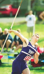 Baldwin High School's Eric Brown lets fly with the javelin during competition at the KU Relays Friday. Brown won the event with a heave of just over 198 feet.