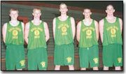 Seniors on the Basehor-Linwood High School boys' basketball team are shown. They are, from left, Brandon Fisher, Jackie Kimlin, Mike Horn, Colby Kooser and Travis Fouts. BLHS opens the season Friday night at home against Bonner Springs.