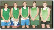 Returning letterwinners on the Basehor-Linwood High School girls' basketball team are shown. They are, from left, Kelly Laffere, Jeni Purtee, Jackie Horn, Courtney Reed and Tara Lucas.